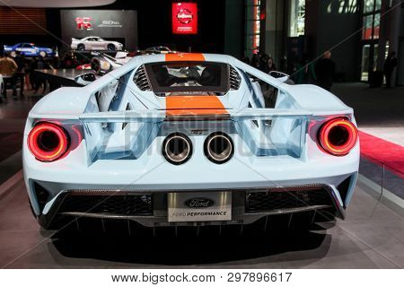 NEW YORK, NY, USA - APRIL 17, 2019: Ford GT at the New York International Auto Show 2019, at the Jacob Javits Center. This was Press Preview Day One of NYIAS