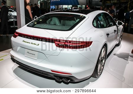 NEW YORK, NY, USA - APRIL 17, 2019: Porsche Panamera at the New York International Auto Show 2019, at the Jacob Javits Center. This was Press Preview Day One of NYIAS