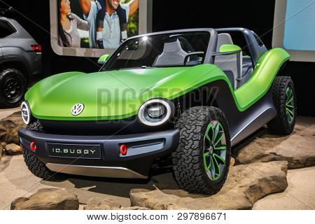 NEW YORK, NY, USA - APRIL 17, 2019: ID Buggy electric buggy concep at the New York International Auto Show 2019, at the Jacob Javits Center. This was Press Preview Day One of NYIAS
