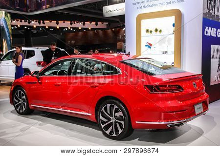 NEW YORK, NY, USA - APRIL 17, 2019: Volkswagen Arteon at the New York International Auto Show 2019, at the Jacob Javits Center. This was Press Preview Day One of NYIAS