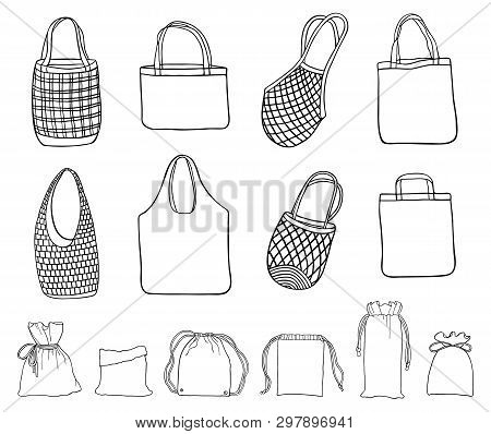 Hand Drawn Zero Waste Cotton Bags For Shopping. Set Of Sketches Reusable Textile Bags. No Plastic Co