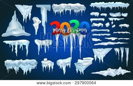 2020 Big Set Of Snow Icicles And Snow Cap Isolated. Cartoon Snowy Elements Over Winter Background. 2