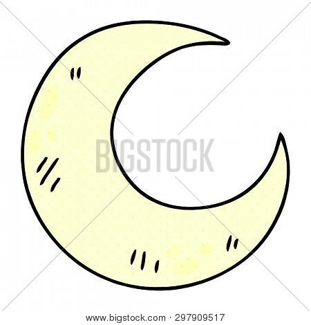 comic book style quirky cartoon crescent moon