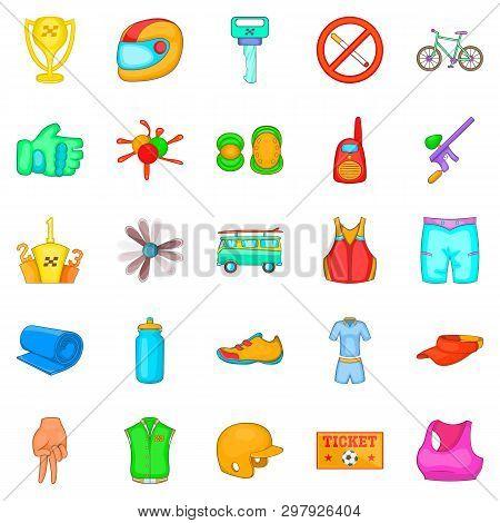 Training Reaction Icons Set. Cartoon Set Of 25 Training Reaction Icons For Web Isolated On White Bac