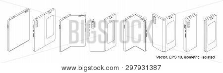 Smartphone Tablet With Foldable Screen. Foldable Smart Phone. Vector Isolated On White Background, E