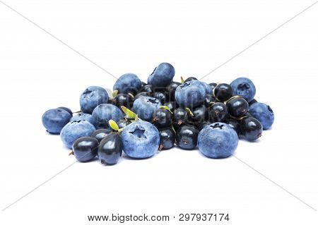 Blueberries And Black Currants Isolated On White Bacground. Ripe Blueberries With Copy Space For Tex
