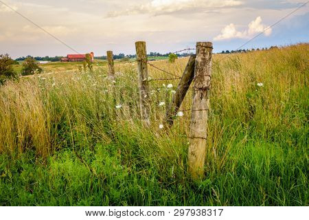 Old fence on a farm in Bluegrass region of Kentucky