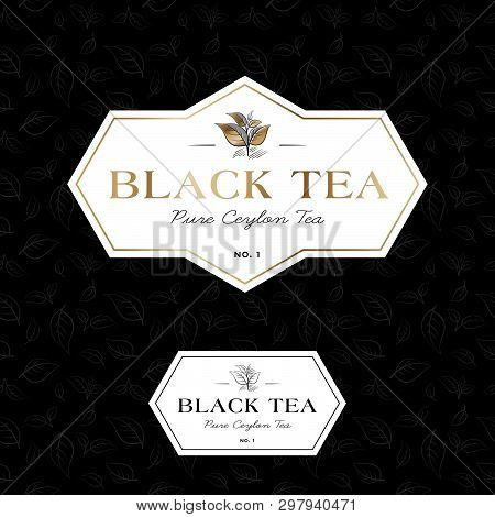 Black Tea Logo And Seamless Pattern. Label For Elite Tea. The Leaves And Letters In A Classic Style
