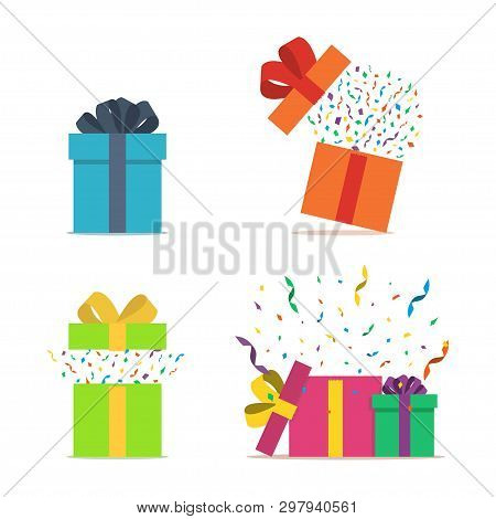 Set Of Gift Boxes. Opened Gift Box With Confetti. Present Package With Bursting Elements, Surprise I