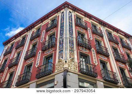 Facade Of Famous Inn Posada Del Peine Building In Madrid, Capital City Of Spain