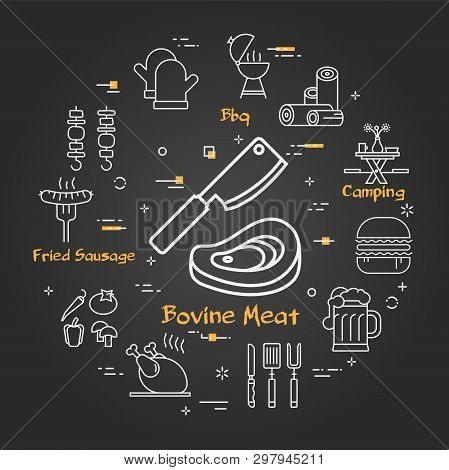 Vector Linear Round Concept Of Outdoor Barbecue And Grill. White Outline Bovine Meat Icon On Black C