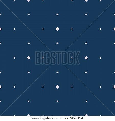 Subtle Vector Seamless Pattern With Tiny Diamond Shapes, Small Stars, Rhombuses, Dots. Simple Minima
