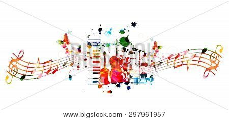 Music Instruments Background With Music Staff. Colorful Piano Keyboard, Guitar,violoncello, Saxophon