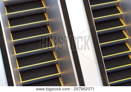 Metal Escalator In Modern Office Or Public Building, Shopping Mall, Airport, Railway Or Metro Subway