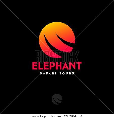 Travel Agency. Silhouette Of Elephant Tusks On A Background Of The Sun. African Safari Logo. Elephan