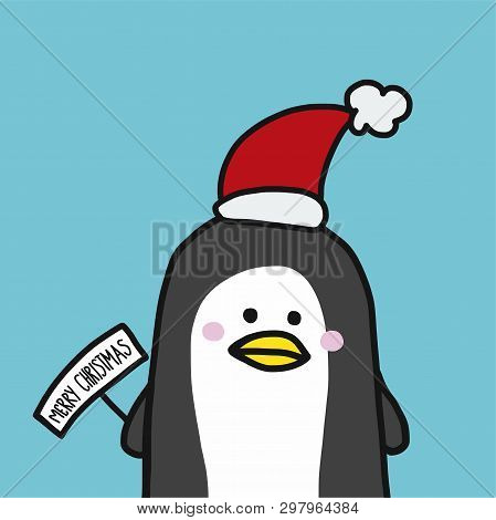 Cute Penguin With Christmas Hat Cartoon Illustration