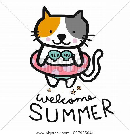 Welcome Summer Cute Cat Were Bikini And Swim Ring Cartoon Illustration Doodle Style