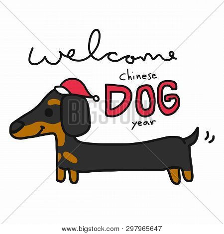 Welcome Chinese Dog Year And Dachshund Cartoon Illustration