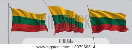 Set Of Lithuania Waving Flag On Isolated Background Vector Illustration. 3 Red Green Lithuanian Wavy