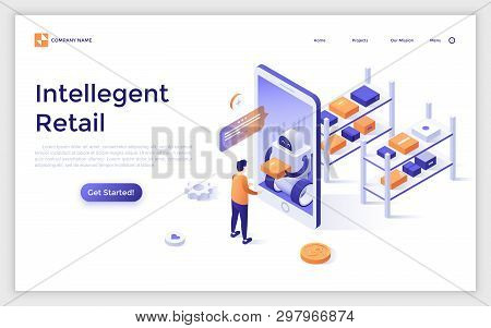 Landing Page With Man Standing In Front Of Giant Smartphone And Receiving His Internet Order From Ro