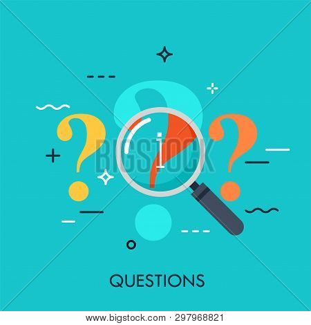 Question Mark Under Review With Magnifying Glass. Information Search Process, Problem Analyzing, Ans
