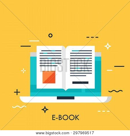 Electronic Book Icon, Digital Reading Concept, Internet Learning, E-book Library, Online Magazine. V