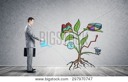Entrepreneur Watering Drawing Tree Consisted Of Business Infographic Symbols. Man Cultivating Green