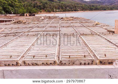 Precast Concrete Plank Of Pier, Under Construction, South Of Thailand