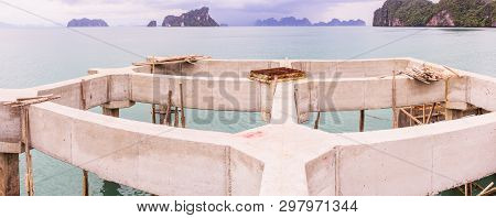 Panorama View Of Pier Under Construction, South Of Thailand