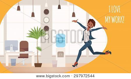 Thrilled Office Woman Jumping In Coworking Space. Excited Female Coworker Wearing Pantsuit Jump Up.