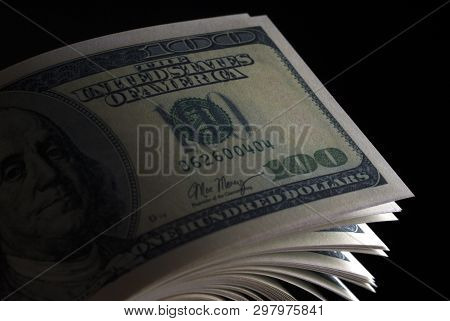 Usd Dollar Banknotes In The Dark. Dollars Silhouette.