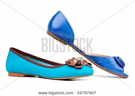 Two summer women shoes against white