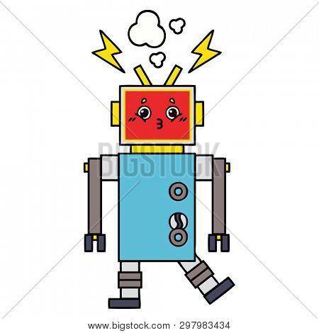 cute cartoon of a robot malfunction