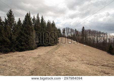 Sedlo Pod Malou Kykulou Bellow Kozubova Hill In Early Spring Moravskoslezske Beskydy Mountains In Cz