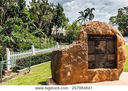 Darwin Australia - February 22, 2019: Brown Stone Statue With Plate Of The Bombing Of Darwin, Set In