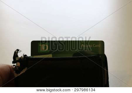 London Canada, April 27 2019: Editorial Photograph Of The Td Canada Trust Logo Sticking Out Of A Wal