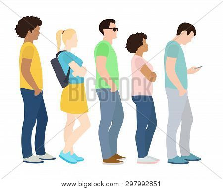 Queue Of People. Waiting Women And Men Standing In Line. Queue Wait Woman And Man. Vector Illustrati