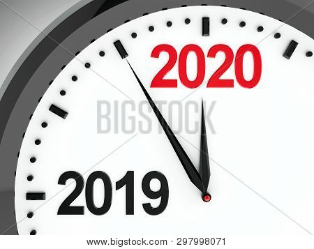 Black Clock With 2019-2020 Change Represents Coming New Year 2020, Three-dimensional Rendering, 3d I