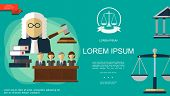 Flat judicial system template with jury trial gavel law books judge courthouse scales of justice on green background vector illustration poster