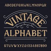 Vintage alphabet font. Ornate messy letters and numbers in retro style. Hand drawn vector typescript for your typography design. poster