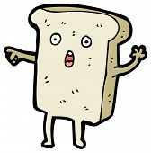 (raster version) cartoon slice of bread character pointing poster