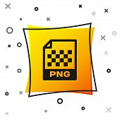 Black PNG file document icon. Download png button icon isolated on white background. PNG file symbol. Yellow square button. Vector Illustration poster