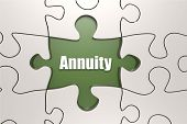 Annuity word on jigsaw puzzle, 3D rendering poster