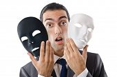 Industrial espionage concept with masked businessman poster