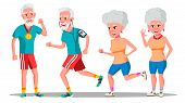 Jogger Old People . Jogger Couple. Health Training. Illustration poster