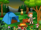 Boys in camping outfit with a hyena in the campsite poster