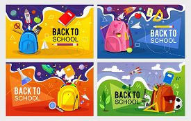 Back To School Banner Set. Colorful Back To School Templates For Invitation, Poster, Banner, Promoti