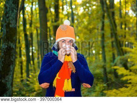 Sick Man With Napkin Outdoor. Cold. Influenza, Illness, Sick, Illness, Coronavirus, Epidemic. Sick M