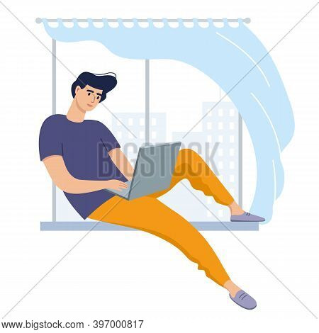 Freelancer Man Work In Comfortable Conditions At Home, Coworking Space. A Young Man Sits On A Window