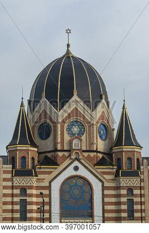 Kaliningrad, Russia - September 2020: New Liberal Synagogue In Center Of Kaliningrad. Selective Focu